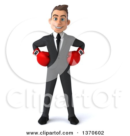 Clipart of a 3d Young White Business Man Wearing Boxing Gloves, on a White Background - Royalty Free Illustration by Julos