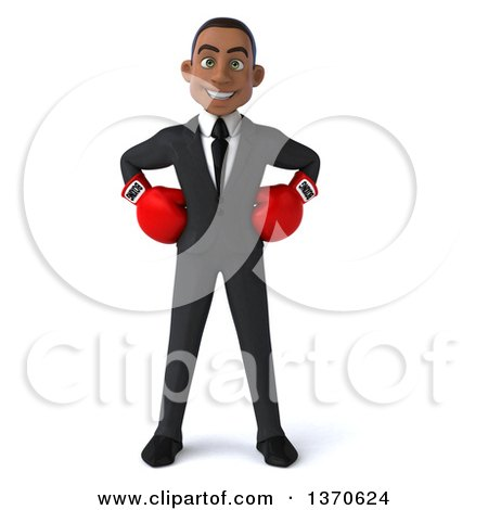 Clipart of a 3d Young Black Business Man Wearing Boxing Gloves, on a White Background - Royalty Free Illustration by Julos
