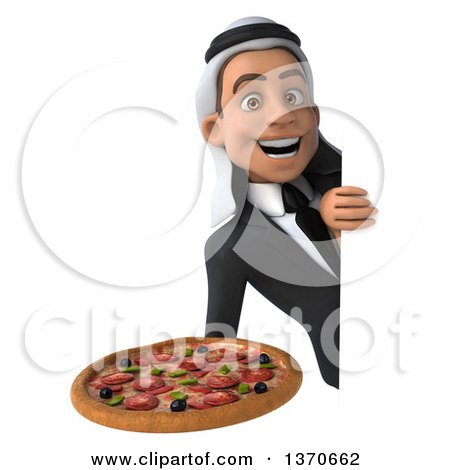 Clipart of a 3d Young Arabian Business Man Holding a Pizza, on a White Background - Royalty Free Illustration by Julos