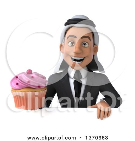 Clipart of a 3d Young Arabian Business Man Holding a Cupcake, on a White Background - Royalty Free Illustration by Julos