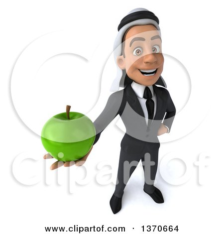 Clipart of a 3d Young Arabian Business Man Holding a Green Apple, on a White Background - Royalty Free Illustration by Julos