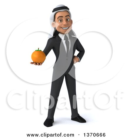 Clipart of a 3d Young Arabian Business Man Holding a Navel Orange, on a White Background - Royalty Free Illustration by Julos