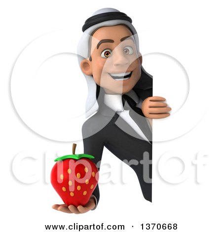 Clipart of a 3d Young Arabian Business Man Holding a Strawberry, on a White Background - Royalty Free Illustration by Julos