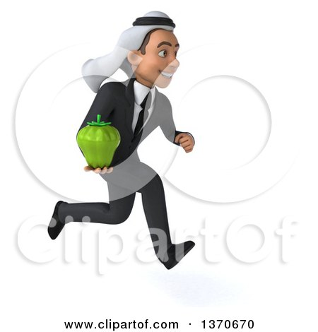 Clipart of a 3d Young Arabian Business Man Holding a Green Bell Pepper, on a White Background - Royalty Free Illustration by Julos