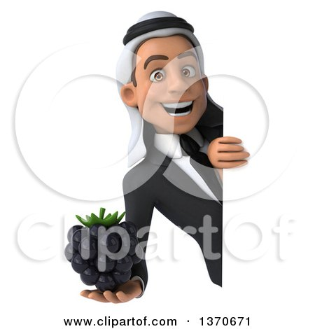 Clipart of a 3d Young Arabian Business Man Holding a Blackberry, on a White Background - Royalty Free Illustration by Julos