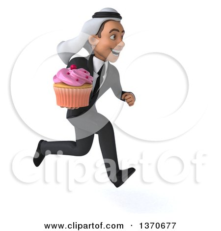 Clipart of a 3d Arabian Business Man Holding a Cupcake, on a White Background - Royalty Free Illustration by Julos
