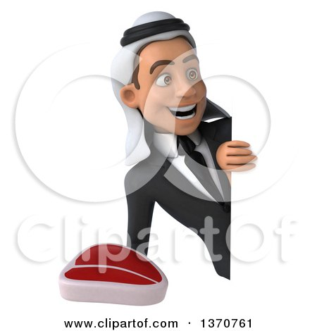 Clipart of a 3d Young Arabian Business Man Holding a Beef Steak, on a White Background - Royalty Free Illustration by Julos