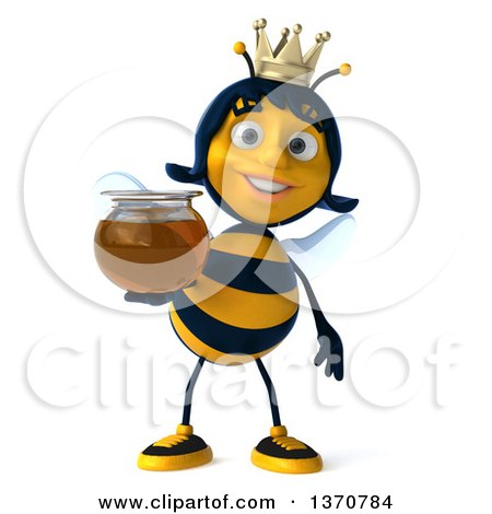 Clipart of a 3d Queen Bee Holding a Honey Jar, on a White Background - Royalty Free Illustration by Julos