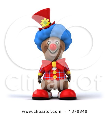 Clipart of a 3d Brown Bear Clown, on a White Background - Royalty Free Illustration by Julos