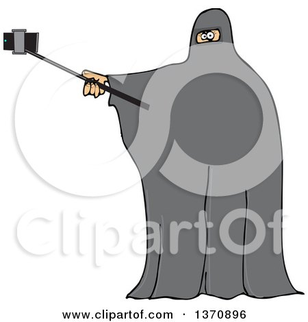 Clipart of a Cartoon Muslim Woman Wearing a Burka and Taking a Selfie - Royalty Free Vector Illustration by djart