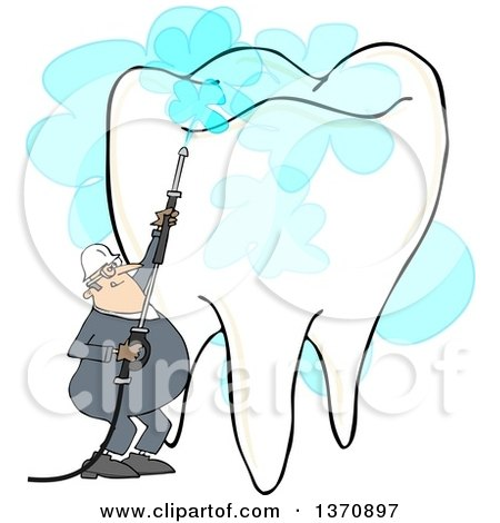 Clipart of a Cartoon White Worker Man Pressure Washing a Tooth, on a White Background - Royalty Free Illustration by djart