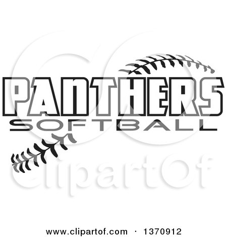 Clipart of Black and White Panthers Softball Text over Stitches - Royalty Free Vector Illustration by Johnny Sajem