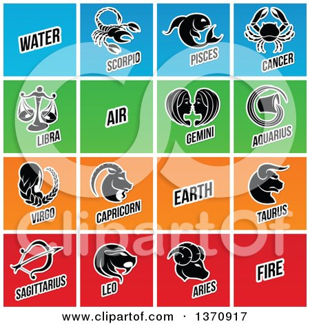 Clipart of Black and White Horoscope Zodiac Astrology Icons on Colorful Tiles - Royalty Free Vector Illustration by cidepix