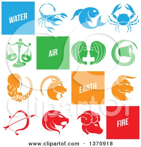 Clipart of Elements and Horoscope Zodiac Astrology Icons - Royalty Free Vector Illustration by cidepix