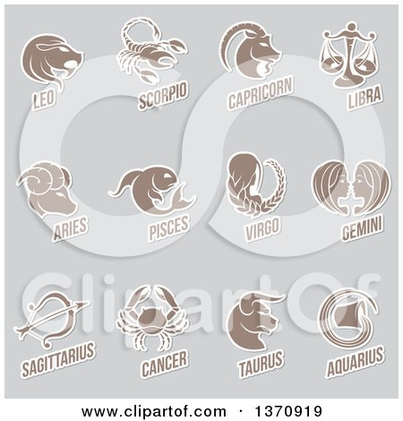 Clipart of Horoscope Zodiac Astrology Icons on Gray - Royalty Free Vector Illustration by cidepix