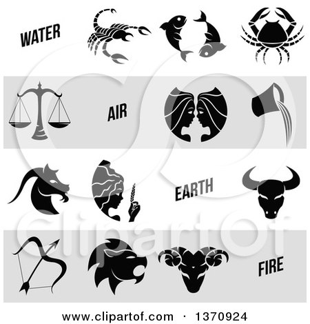 Clipart of Black and White Horoscope Zodiac Astrology Icons on White and Gray Panels - Royalty Free Vector Illustration by cidepix