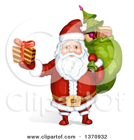 Clipart of a Christmas Santa Claus Carrying a Sack and Holding up a Gift - Royalty Free Vector Illustration by merlinul