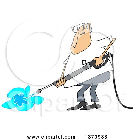 Clipart of a Cartoon Chubby White Man Pressure Washing - Royalty Free Vector Illustration by djart
