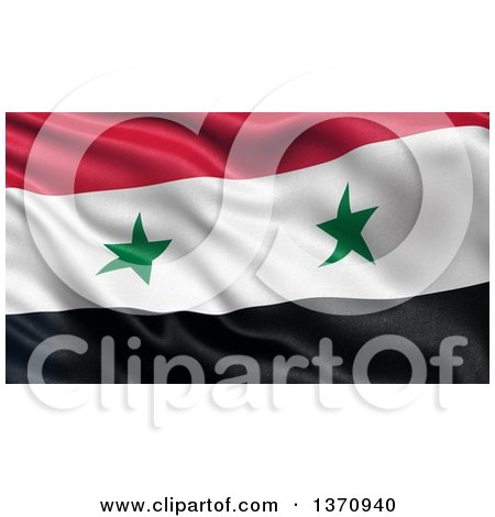 Clipart of a 3d Rippling Flag of Syria - Royalty Free Illustration by stockillustrations