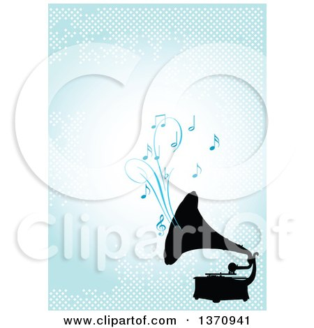 Clipart of a Black Silhouetted Gramophone Playing Music over a Blue Background with Dots - Royalty Free Vector Illustration by Pushkin