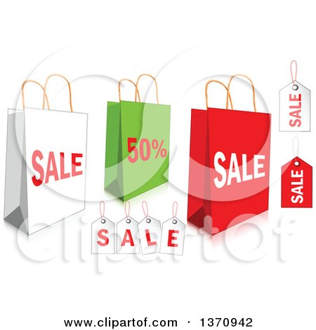 Clipart of White, Green and Red Retail Shopping Bags and Tags - Royalty Free Vector Illustration by Pushkin