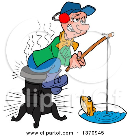 Clipart of a Cartoon Caucasian Man Sitting on a Wood Stove and Ice Fishing - Royalty Free Vector Illustration by LaffToon