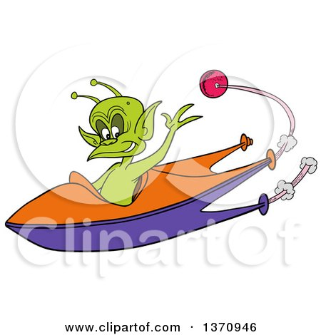 Clipart of a Cartoon Friendly Alien Waving and Flying a Space Ship, a Planet in the Background - Royalty Free Vector Illustration by LaffToon