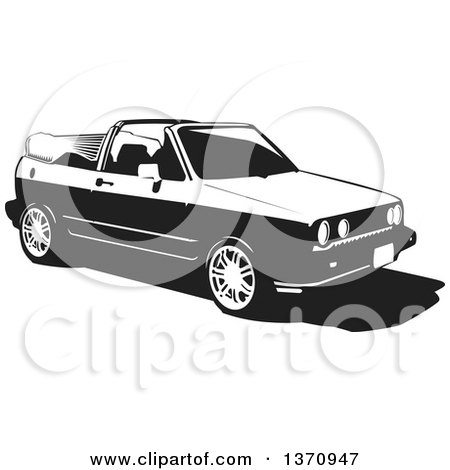 Clipart of a Black and White Woodcut VW Rabbit Convertible Car - Royalty Free Vector Illustration by David Rey