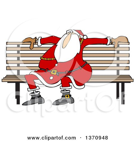 Clipart Of A Cartoon Christmas Santa Claus Sitting On A Park Bench Royalty Free Vector Illustration