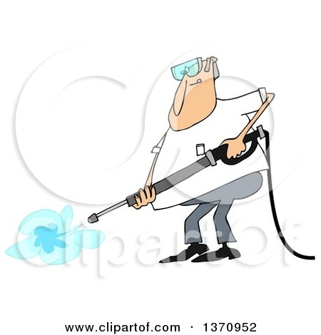 Clipart of a Cartoon Chubby White Man Wearing Protectove Goggles and Pressure Washing - Royalty Free Vector Illustration by djart