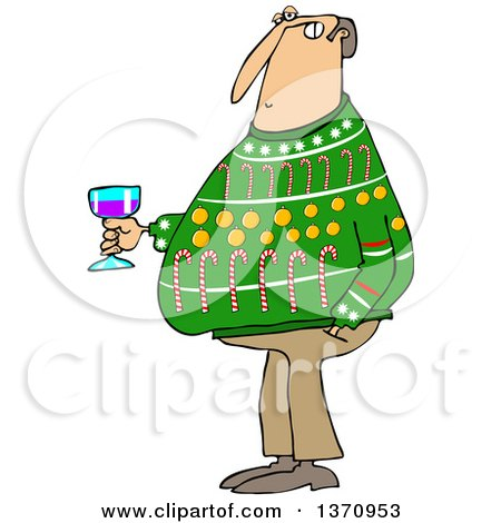 Clipart of a Cartoon Chubby White Man Wearing an Ugly Christmas Sweater and Holding a Glass of Wine at a Party - Royalty Free Vector Illustration by djart