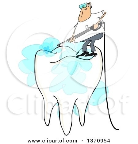 Clipart of a Cartoon White Man Pressure Washing the Top of a Tooth, on a White Background - Royalty Free Illustration by djart