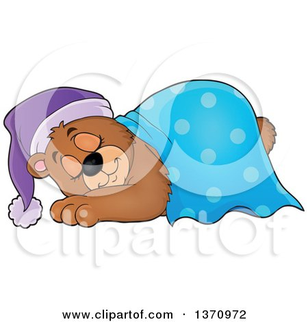Clipart of a Cartoon Cute Brown Bear Sleeping with a Blanket and Night Cap - Royalty Free Vector Illustration by visekart