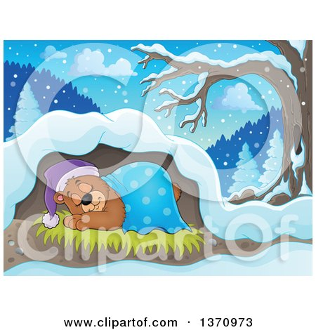 Clipart of a Cartoon Cute Brown Bear Sleeping with a Blanket and Night Cap in a Cave - Royalty Free Vector Illustration by visekart