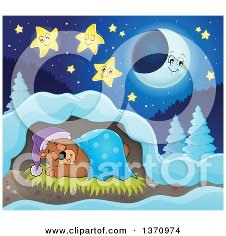 Clipart of a Cartoon Cute Brown Bear Sleeping with a Blanket and Night Cap in a Cave at Night - Royalty Free Vector Illustration by visekart