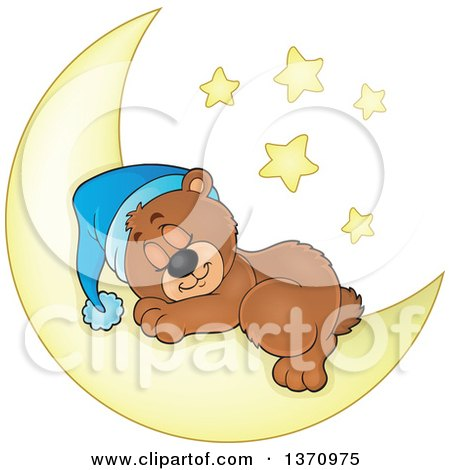 Clipart of a Cartoon Cute Brown Bear Sleeping on a Crescent Moon Under Stars - Royalty Free Vector Illustration by visekart
