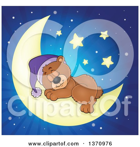 Clipart of a Cartoon Cute Brown Bear Sleeping on a Crescent Moon over Blue Rays - Royalty Free Vector Illustration by visekart