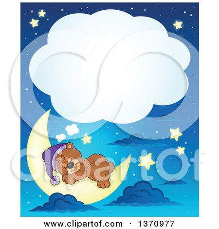 Clipart of a Cartoon Cute Brown Bear Sleeping on a Crescent Moon, with a Thought Balloon, Against a Blue Night Sky - Royalty Free Vector Illustration by visekart