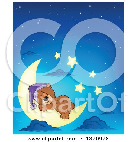 Clipart of a Cartoon Cute Brown Bear Sleeping on a Crescent Moon Against a Blue Night Sky - Royalty Free Vector Illustration by visekart