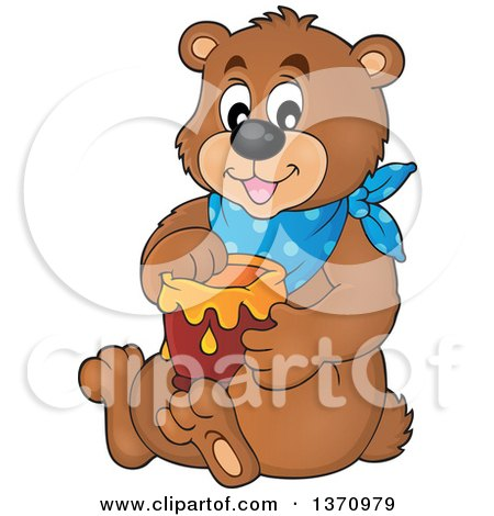 Clipart of a Cartoon Brown Bear Sitting and Holding a Honey Jar - Royalty Free Vector Illustration by visekart