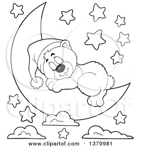 Clipart of a Cartoon Black and White Cute Bear Sleeping on ...