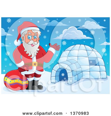 Clipart of a Christmas St Nicholas Santa Claus Waving by an Igloo - Royalty Free Vector Illustration by visekart