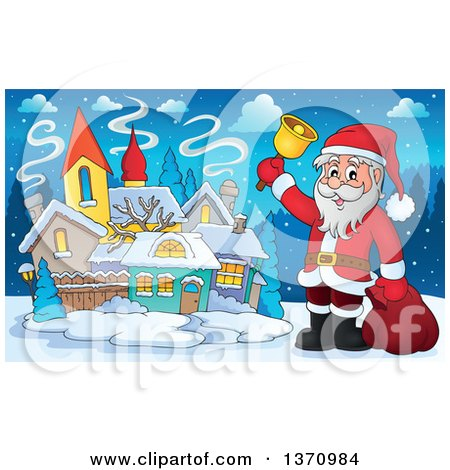 Clipart of a Christmas St Nicholas Santa Claus Ringing a Bell by a Village - Royalty Free Vector Illustration by visekart