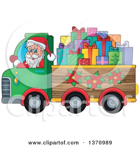 Clipart of a Christmas St Nicholas Santa Claus Waving and Driving a Truck Full of Gifts - Royalty Free Vector Illustration by visekart