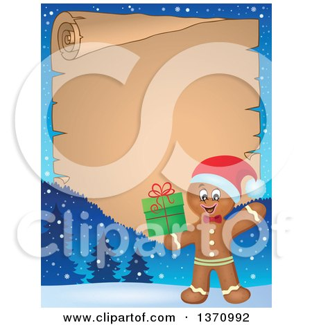 Clipart of a Parchment Border of a Happy Gingerbread Man Cookie Waving and Holding a Christmas Gift - Royalty Free Vector Illustration by visekart