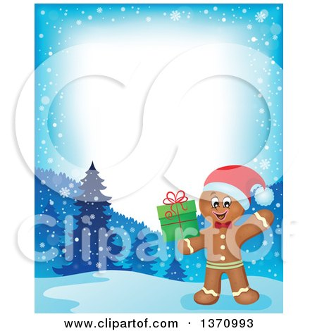 Clipart of a Border of a Happy Gingerbread Man Cookie Waving and Holding a Christmas Gift - Royalty Free Vector Illustration by visekart
