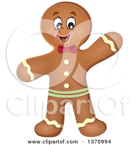 Clipart of a Happy Gingerbread Man Cookie Waving - Royalty Free Vector Illustration by visekart