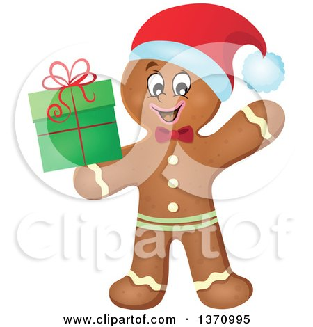 Clipart of a Happy Gingerbread Man Cookie Waving and Holding a Christmas Gift - Royalty Free Vector Illustration by visekart