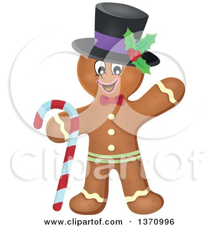 Clipart of a Happy Gingerbread Man Cookie Waving, Wearing a Hat and Holding a Candy Cane - Royalty Free Vector Illustration by visekart