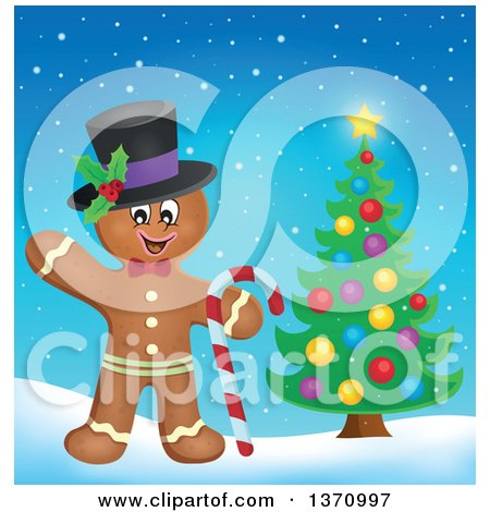 Clipart of a Happy Gingerbread Man Cookie Waving, Wearing a Hat and Holding a Candy Cane by a Christmas Tree - Royalty Free Vector Illustration by visekart